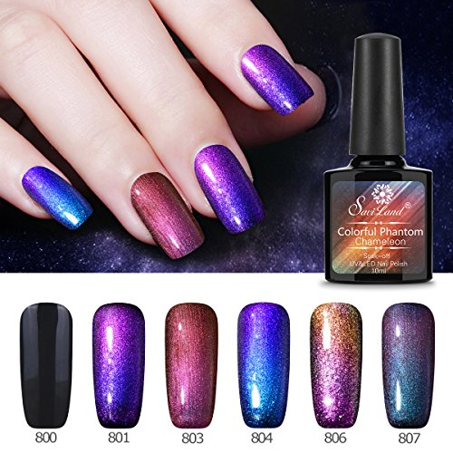 6 Pcs Soak Off Gel Nail Polish Set, Saviland Phantom Chameleon Gel Glitter Sparkly Polish UV LED Nail Art Kit -