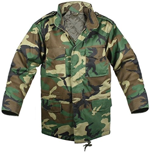 - Kids Field Jacket Woodland Camouflage Military Style M-65 Field Coat