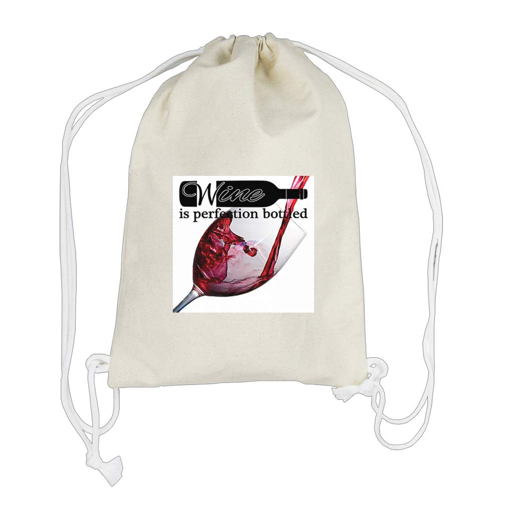 Wine Is Perfection Filling a Wine Glass Cotton Canvas Backpack Drawstring Bag