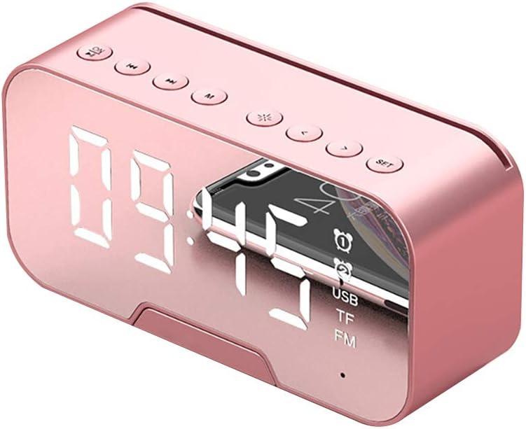 SNAWEN Reloj Despertador Digital, Reloj Despertador con Espejo LED MultifuncióN, Altavoz Bluetooth con Radio FM, Relojes de Noche, Reproductor de MúSica, Reloj de Mesa,Rosado