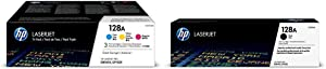 HP 128A (CF371AM) Cyan, Magenta & Yellow Original Laserjet Toner Cartridges, 3 Pack and HP 128A (CE320A) Black Original Laserjet Toner Cartridge Bundle
