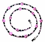 Hot Pink Skulls Halloween Black / Silver Bead Mix Eyeglass Chain