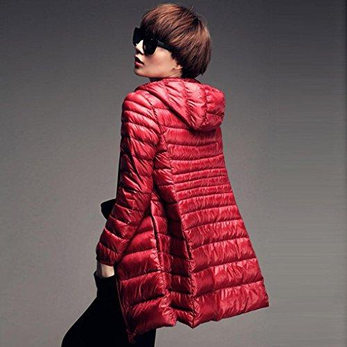 Oversized Thin Overcoat Mingfa Ladies Coat Hooded Warm Long Parka Women Packable Wine Jacket Down Winter Lightweight ad0wPnqYB