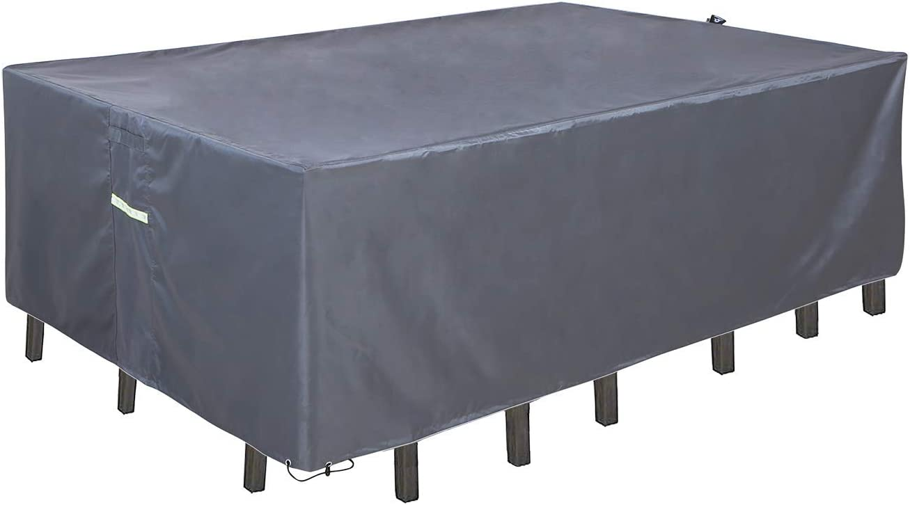 """CHENHAO Patio Furniture Cover Waterproof Table Cover 600D Oxford for Square/Rectangular/Round Table (Rectangular 88""""(L)×58""""(W)×28""""(H))"""