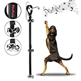 PowPetie Dog Bells for Potty Training, Dog Bell Training Your Puppy the Easy Way - 5 Extra Large Loud 1.4 Bell, Black Nylon, Adjustable Length for Small, Medium and Large Dogs
