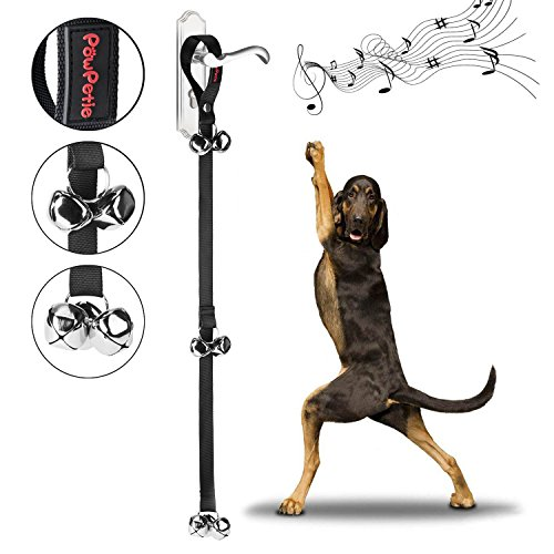 PowPetie Dog Bells for Potty Training, Dog Bell Training Your Puppy the Easy Way - 5 Extra Large Loud 1.4 Bell, Black Nylon, Adjustable Length for Small, Medium and Large (Black Small Bell)