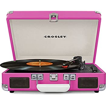 Crosley CR8005D-PI Cruiser Deluxe Portable 3-Speed Turntable with Bluetooth, Pink