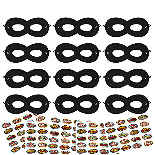 Superhero Masks, Party Dress Up Mask, Super Hero Masks for Kids, 12Pcs Black Masks with 100 -