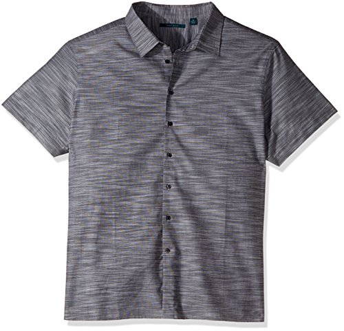 Perry Ellis Men's Big and Tall Short Sleeve Solid Slub Texture Shirt, Slate, 5X