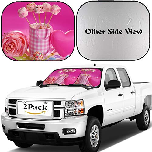 MSD Car Windshield Sun Shade, Universal Fit 2-Piece Foldable Car Sunshade, Block Sun Glare, UV and Heat, Sun Visor, Pink Marshmallow pops with Heart Shape and Pearl Sprinkles in Cup ()