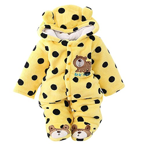 Sharemen Baby Girl Boy Cartoon Jumpsuit Hoodie Romper Outfit Long Sleeve Bodysuit (Yellow, 0-3 Months) (Months Romper Outfit)