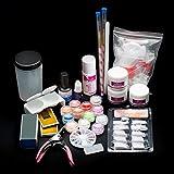 Yoyorule 19Acrylic Nail Art Tips Powder Liquid Brush Glitter Clipper Primer File Set