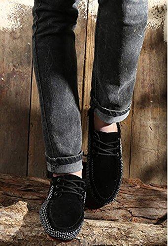 Nero in Bebete5858 allacciano da uomo scarpe di casual particolare in formato 48 di Mocassini dimensioni le grandi pelle grande taglia FBHx54wqBO