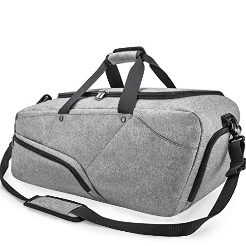21d5b79f0 Gym Bag Sports Duffle Bag with Shoes Compartment Waterproof Large Travel Duffel  Bags Weekender Overnight Bag for Men Women 45L Grey