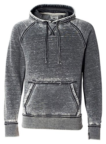 J-America Adult Vintage Zen Raglan Hooded Pullover Sweatshirt, Dark Smoke, 2XL