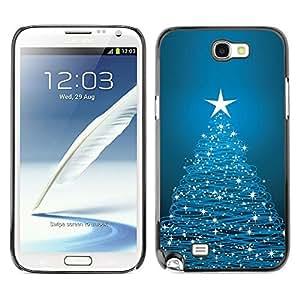 YOYO Slim PC / Aluminium Case Cover Armor Shell Portection //Christmas Holiday Blue Tree & Stars 1129 //Samsung Note 2