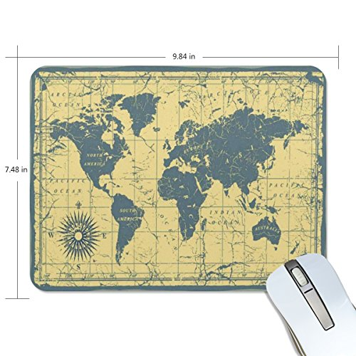 PROEVER Vintage Map Mouse Pad Game Office Thicker Mouse Pad Decorated Mouse Pad