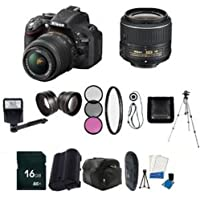 Nikon D5200 24.1 MP CMOS Digital SLR with 18-55mm f/3.5-5.6 AF-S DX VR Lens (Black) - International Version (No Warranty) + EN-EL14 Replacement Li-on Battery + 16GB SDHC Class 10 Memory Card + 52mm Wide Angle Lens + 52mm 2.2x Telephoto Lens + 52mm 3 Piece Filter Kit + 52mm UV Filter + Full Size Tripod + External Flash + Digital Carrying Case + SDHC Card USB Reader + 6pc Starter Kit + Memory Card Wallet + Lens Cap Keeper + Bonus Nikon DVD! Bundle Basic Intro Review Image
