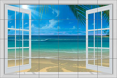"Seascape Tile Mural Backsplash - Paradise Beach II By David Miller Ceramic Kitchen Shower Bathroom (25.5"" x 17"" - 4.25"" tiles)"