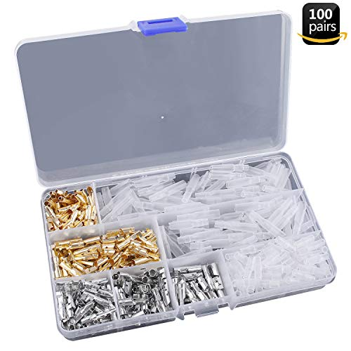 Heat Shrink Male & Female Wire Terminals Gold Silver Tube Connectors Kit for Motorcycle Car with Fire Retardant Transparent Covers 200 Pcs ()