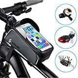 ALEVEL Bike Frame Bag, Waterproof Bike Bag Bicycle Frame Bag with Front Top Tube Touchscreen, Bike Pouch with Headphone Through-Hole for iPhone Xs/Max/XR/X/8 Plus/7/6S/Samsung S9 and More
