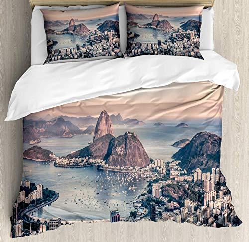Teamery Vintage Beach Duvet Cover Set Twin Size Photo Rio De Janeiro Coastline Brazil City Beach Landscape Mellow Sunset Decorative 4 Piece Bedding Set with 2 Pillow Shams ()
