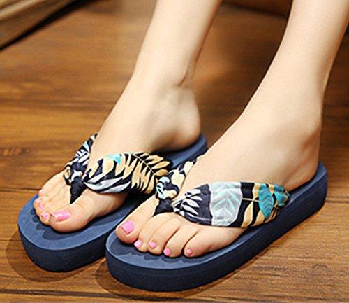 Sfnld Womens Fashion Boho Flip Flop Platform Beach Slippers Thong Wegde Heel Sandals Blue inka5IP