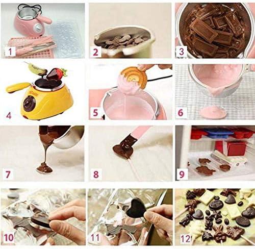 QHGao Machine De Fonte Chaude De Chocolat, Pot De Fusion De Chocolat Chaud en Plastique d'acier Inoxydable Durable Électrique, pour La Fête d'anniversaire/Soirée Pyjama/Barbecue