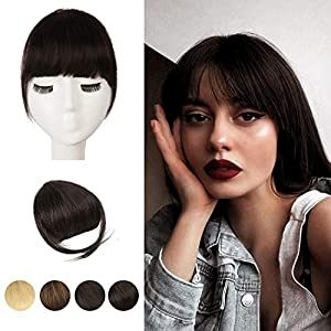 Clip in Bangs, BARSDAR 100% Human Hair Bangs Extensions French Bangs Neat Bangs with Temples Clip on Fringe Bangs Real…