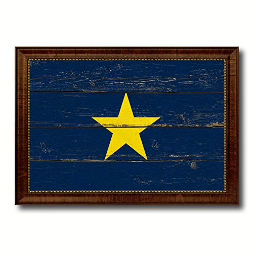 epublic 1836-1839 Military Vintage Flag Brown Framed Canvas Print Home Decor Wall Art Gifts Signs Cards 21