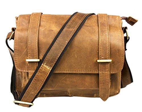 insum Herren Leder Umhängetasche Tote Messenger Bag Yellow Crazy Horse