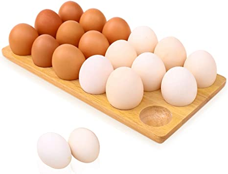 or Countertop for Display or Storage Handmade Solid wood egg tray Usable in Kitchen Refrigerator White Egg rack Wooden Egg Tray 18 Hole by Royal Signet wooden egg crate for storage