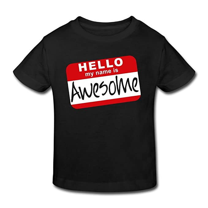 abf78e4c Hanxiaoxiao Kids' Hello My Name Is Awesome Fashion Tennis Black Shirt 2  Toddler Short Sleeve