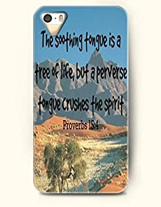 iPhone 4 4S Case OOFIT Phone Hard Case **NEW** Case with Design The Soothing Tongue Is A Free Of Life,But A Perverse Tongue Crushes The Spirit Proverbs 15:4- Bible Verses - Case for Apple iPhone 4/4s
