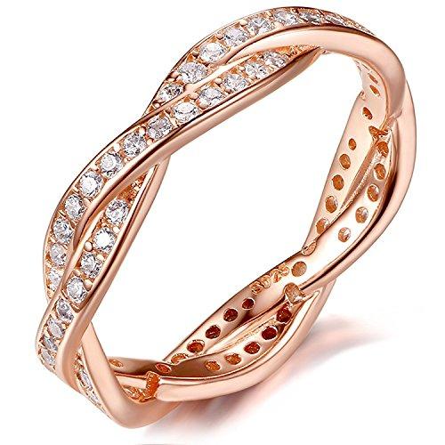 BINKADA Shining 18K Rose Gold Plated Engagement Wedding Rings Cubic Zirconia By Swarovski Elements Brilliant Ring - Ring Swarovski Rose