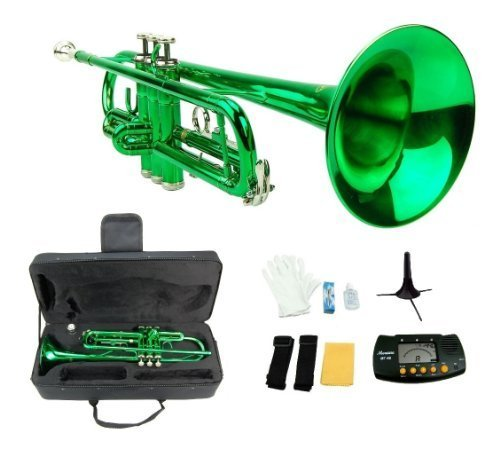 Merano B Flat GREEN / Silver Trumpet with Case+Mouth Piece+Valve Oil+Metro Tuner+Stand by Merano