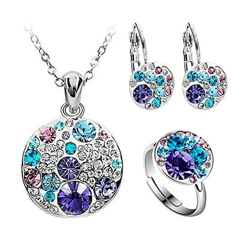 yoursfs 18K White Gold Plated Necklace and Earring Set Silver - 6
