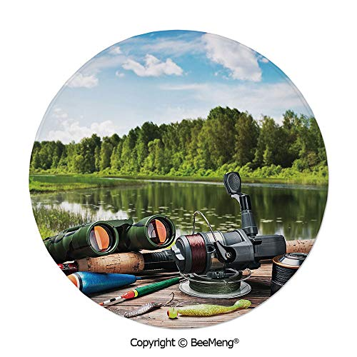 (Diameter31 inch,Printing Round Rug,Dragonfly,Mat Non-Slip Soft Entrance Mat Door Floor Rug Area Rug for Chair Living Room,,Hunting Decor,Fishing Tackle on a Pontoon Lake in the Woods Trees Greenery Fr)