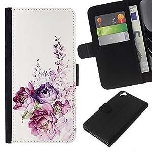 Planetar® Modelo colorido cuero carpeta tirón caso cubierta piel Holster Funda protección Para HTC Desire 820 ( Acuarela Rose floral de la primavera)