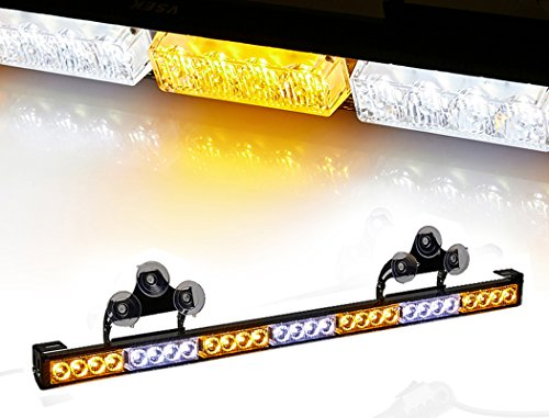 V-SEK 28 LED 31.5 Hazard Emergency Warning Tow Traffic Advisor Flash Strobe Light Bar with Cigar Lighter and Suction Cups (Yellow/White)