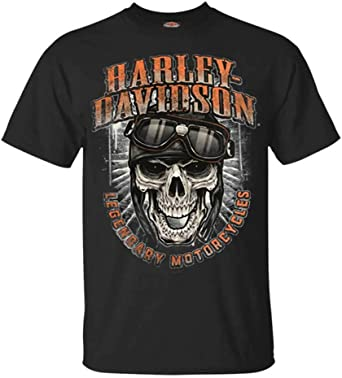 Harley-Davidson - Camiseta de manga corta para hombre, diseño de calavera y gafas, color negro - Negro - X-Large: Harley-Davidson: Amazon.es: Ropa y accesorios