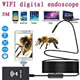 Zhenrong Wireless WIFI Digital Endoscope Electronic Microscope Work with iPhone(iOS) Android Smartphone Mobile Phone and Windows PC (8MM 5M)
