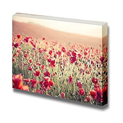 Beautiful Scenery Landscape Summer Poppy Field Under Stunning Sunset Sky Vintage Retro Style - Canvas Art Wall Art - 16
