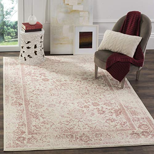 (3'x5'ft Neutral Ivory Rose Pink Unique Oriental Patterned Distressed Area Rug, Indoor Bohemian Living Room Mat Rectangle Carpet, Floral Transitional Style Traditional Design Polypropylene Flooring)