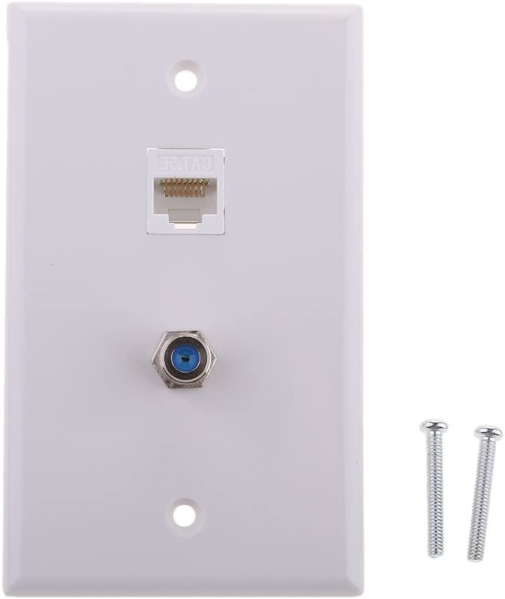 JZLiner Ethernet Coax RJ45 TV Coaxial F Type Wall Plate Jack Socket Outlet Networking Cover Panel