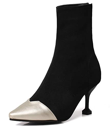 0958949a5760 SHOWHOW Women s Chic Pointy Toe Color Block Kitten Heels Boots Black 4 ...