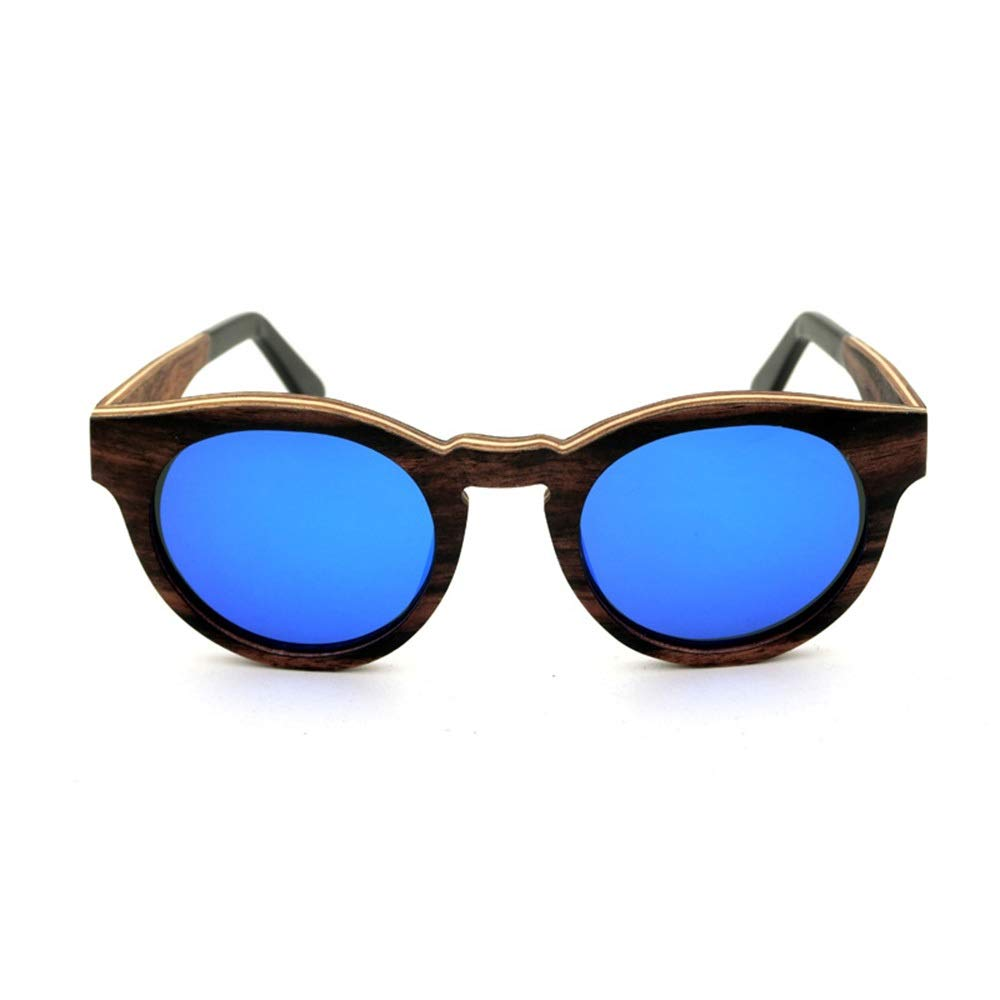 bluee Kirabon HighGrade Vintage Wood Frame Sunglasses, Polarizer Lens (color   Green)