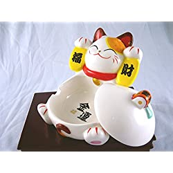 Maneki Neko Lucky Cat Good Fortune & Prosperity Luck Porcelain Ashtray Dish with Lid