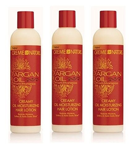 [ VALUE PACK OF 3] CREME OF NATURE Argan Oil Creamy Oil Moisturizing Hair Lotion - Ounce Creamy 8.45