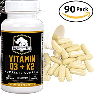 Max Strength D3 + K2: 10,000 iu D and 1500 mcg K-2 by SuperDosing 90 Caps. High Potency for Heart and Bone Health. Boost Your Energy and Immune System with Our Best Vitamin D and Vit K Supplement